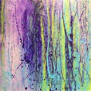 art#painting#Wisteria#floral#purple#green
