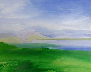 Art#painting#landscape#Scotland#Highlands#Loch#Assynt#green