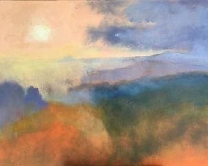 Painting#Art#Sunset#Italy# Monferrato#orange#blue#hills