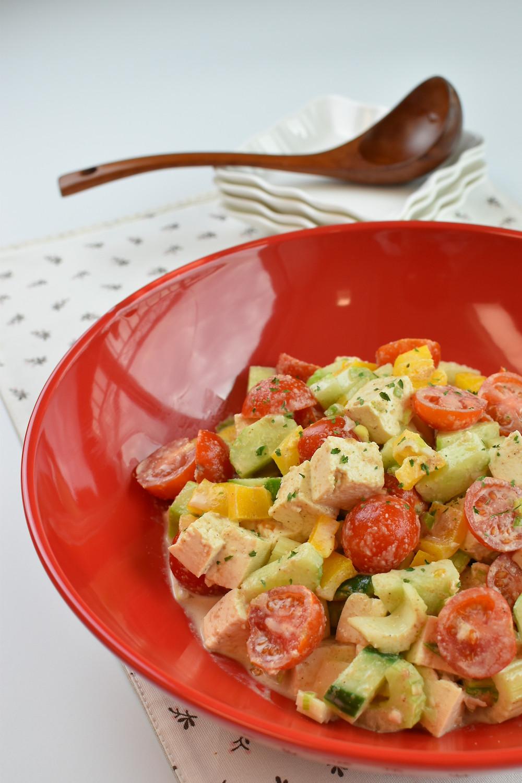 코코랩 레시피 쎄서미 드레싱의 두부 샐러드