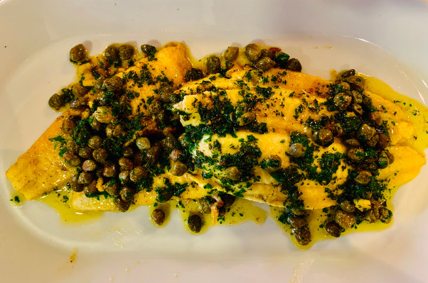 Bream with caper and parsley sauce; white fish, sole