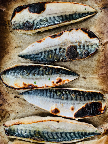 Charred tandoori mackerel, marinaded in yogurt