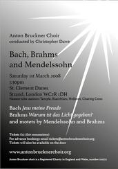 Bach, Brahms & Mendelssohn