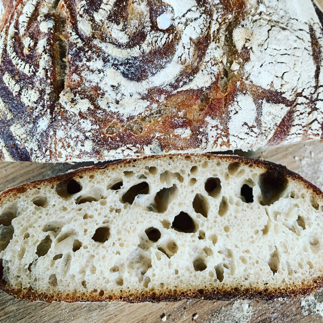 Sourdough, bread made with wild yeast, chewy crust and airy crumb