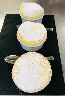 Light and fluffy apple soufflé with apple compote