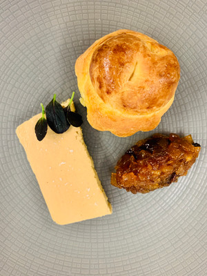 Country pate with brioche and caramelised onion chutney
