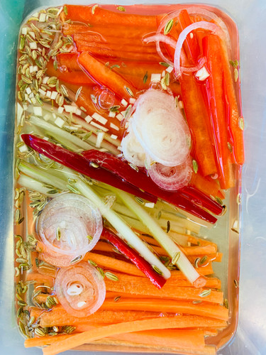 Julienne vegetables: peppers, carrots, celery, shallots, vinegar pickle, side dish accompaniment, vegetarian, vegan, knife skills