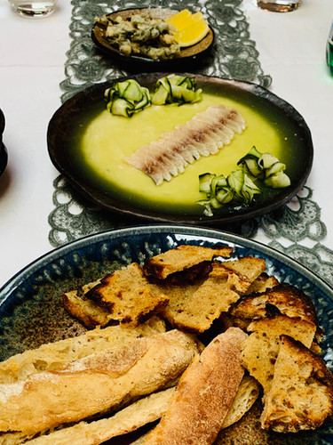 Starter for dinner party: mackerel pate with cured mackerel and cucumber jelly with sourdough crisps
