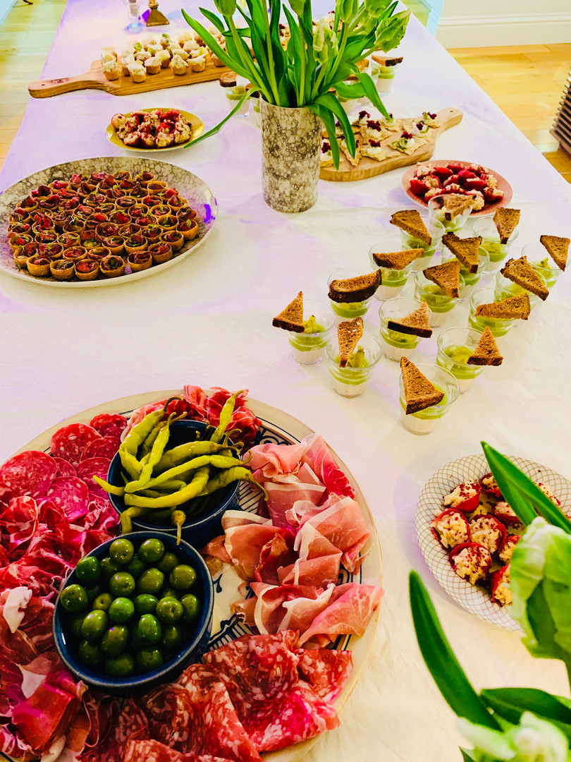 Table setting with canapes for a celebration party