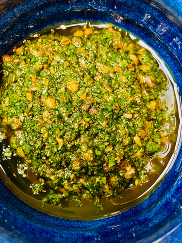 Salsa verde, sauce to go with fish or meat