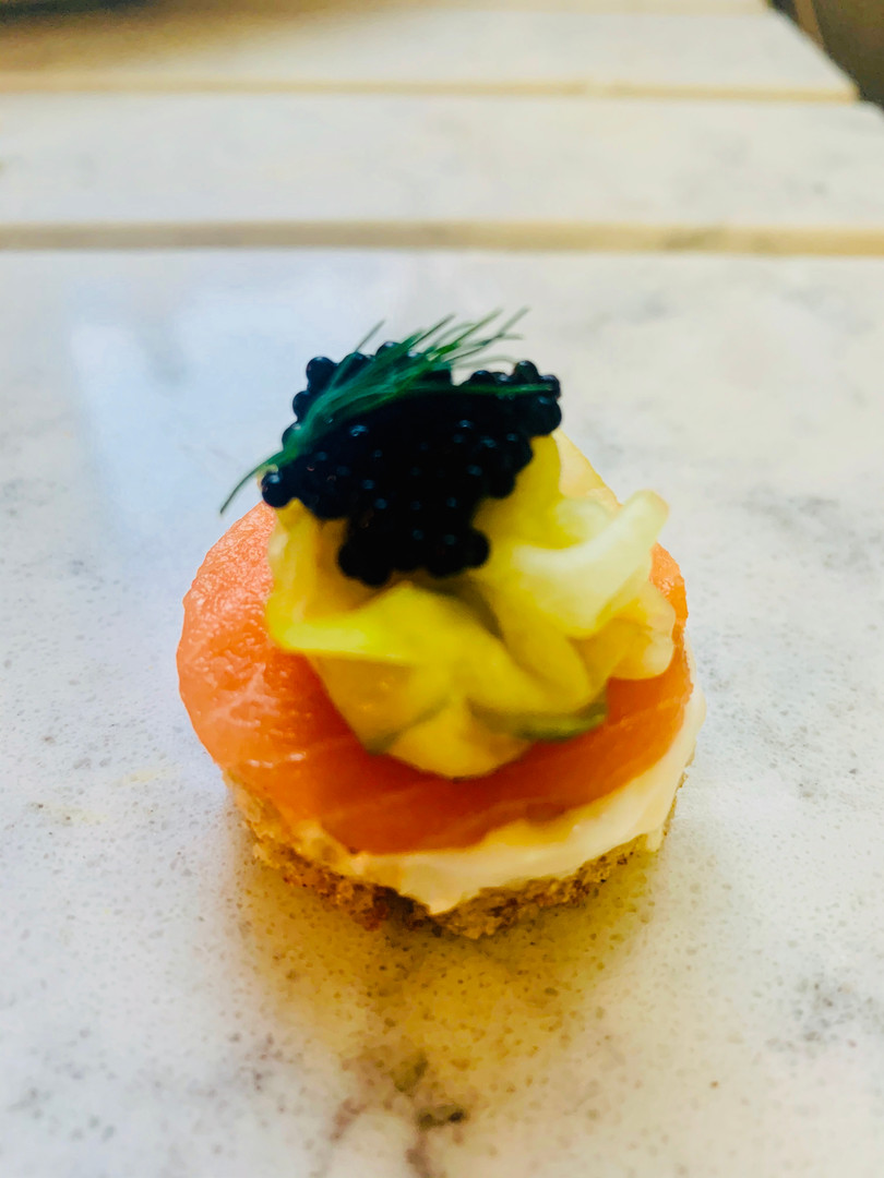 Canapes with smoked salmon and pickled cucumber