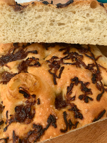 Caramelised red onion focaccia, Italian bread, baking