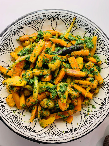Summer salad of roasted heritage carrots with a carrot top pesto