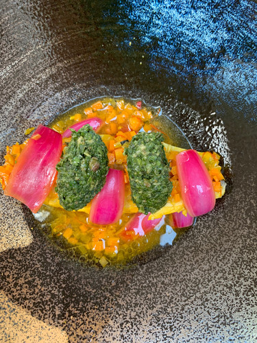 Mackerel with salsa verde, pickled red onions and vegetable broth