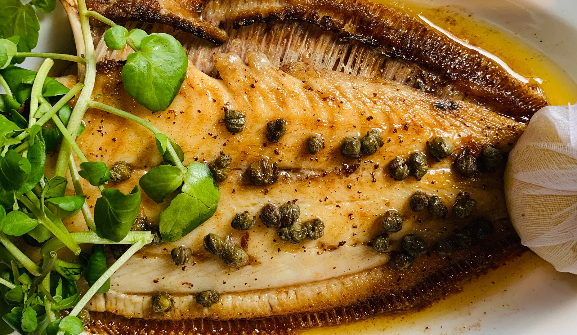 Lemon sole with beurre noisette and capers