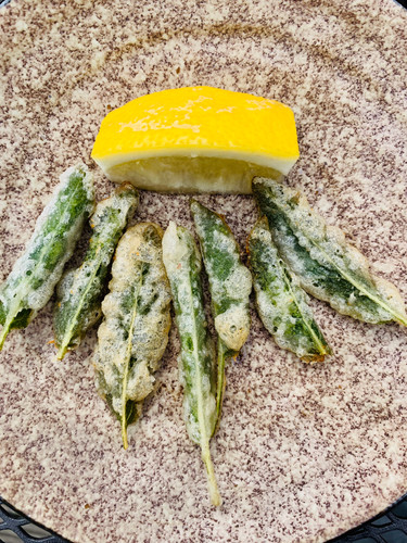 Canape or starter of tempura anchovies wrapped in sage leaves
