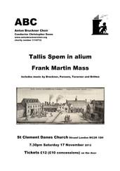 Tallis Spem in Alium & Frank Martin Mass