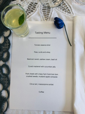 Tasting menu for a dinner party catered by a private chef