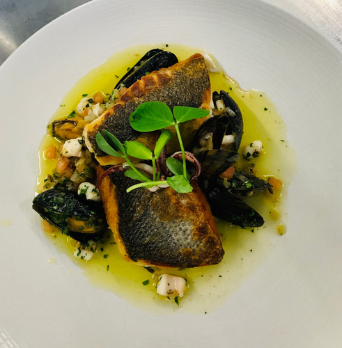 Sea bass with mussels and clam sauce vierge, white fish