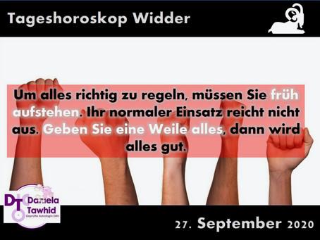Tageshoroskop Widder 27.09.2020