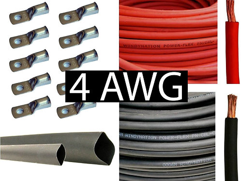 12.5FT 4 AWG Battery Cable Pure Copper Flexible (Red and Black)