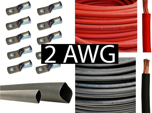 20FT 2 AWG Battery Cable Pure Copper Flexible (Red and Black)