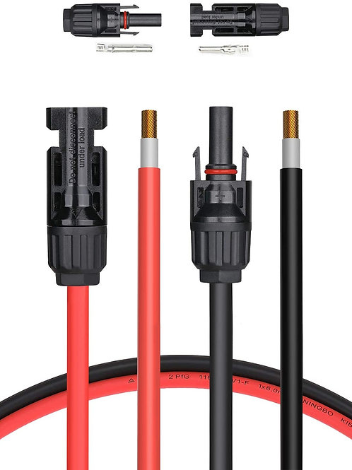 80FT Solar Cable w/Female & Male Connector (Red and Black)