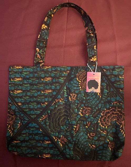 Printed Shopping Tote in Teal/Orange