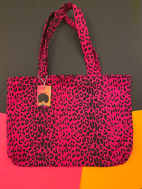 Printed Shopping Tote in Hot Pink