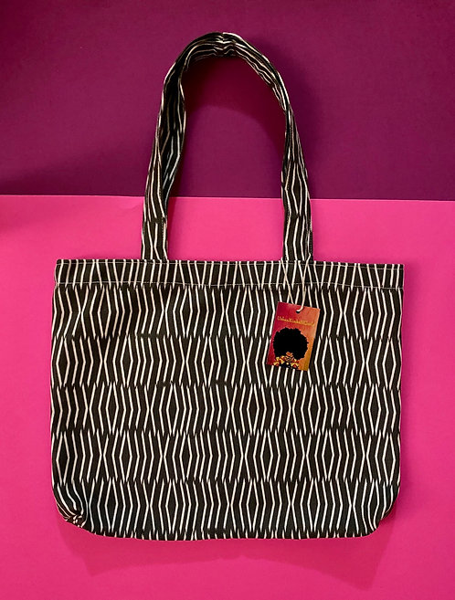 Printed Shopping Tote in Grey and white