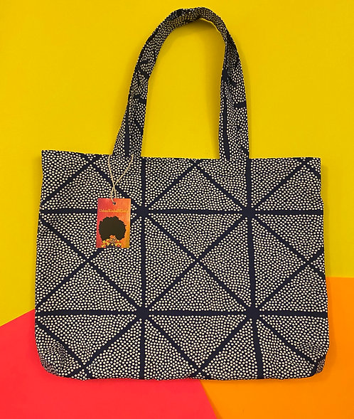 Printed Shopping Tote in Navy and white