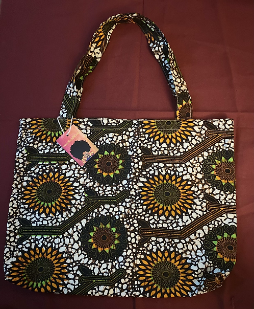 Printed Shopping Tote in Brown/Beige/Orange