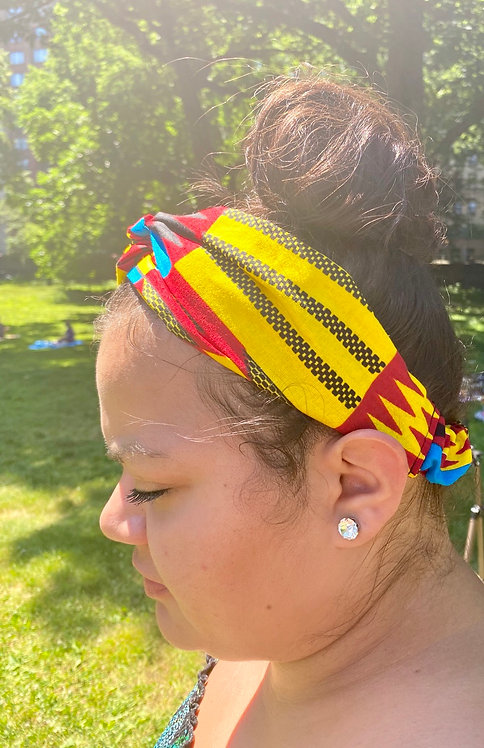 Twist-Front Headband in Yellow/Dark Red/Blue