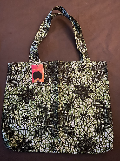 Printed Shopping Tote in Green/Black/White