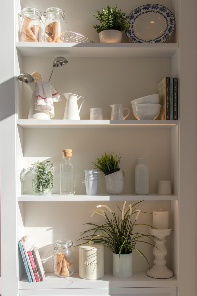clean and neatly organized shelves with no clutter