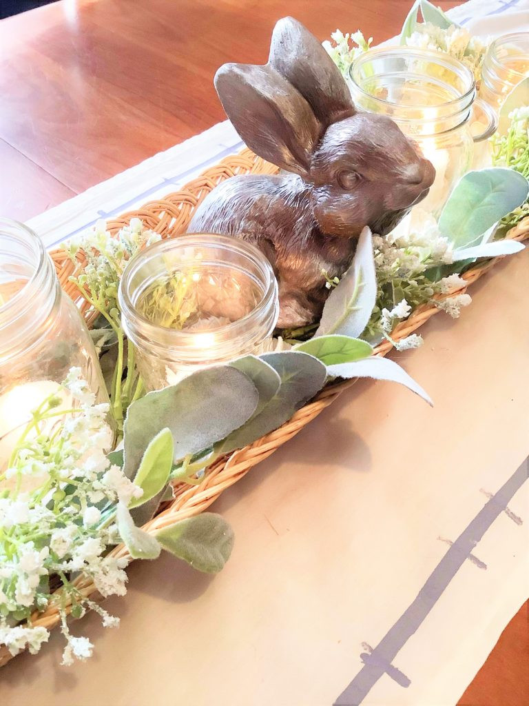 Whimsical Bunny And Spring Floral Centerpiece