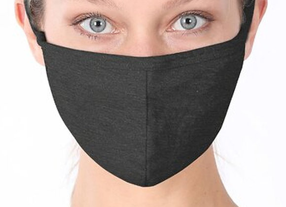 Solid Cotton Face Mask - Charcoal