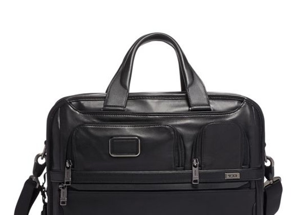 Alpha Expandable Organizer Laptop Brief Leather