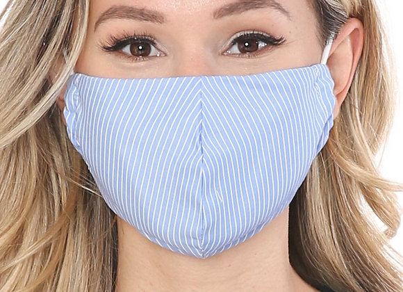Thin Vertical Stripe Face Mask Made in the USA - Blue