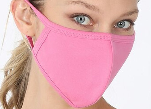 Solid Cotton Face Mask - Candy Pink