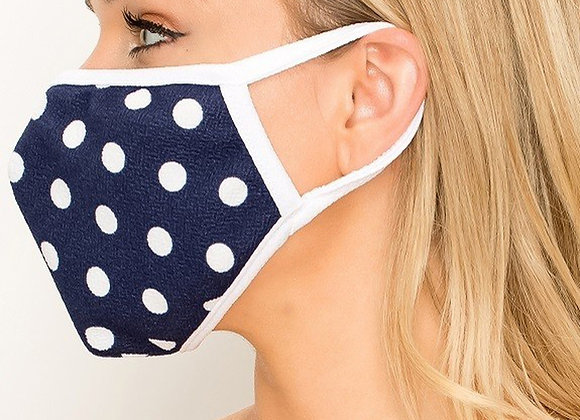 Women's Crepe Polka Dot Face Mask Made in the USA - Blue