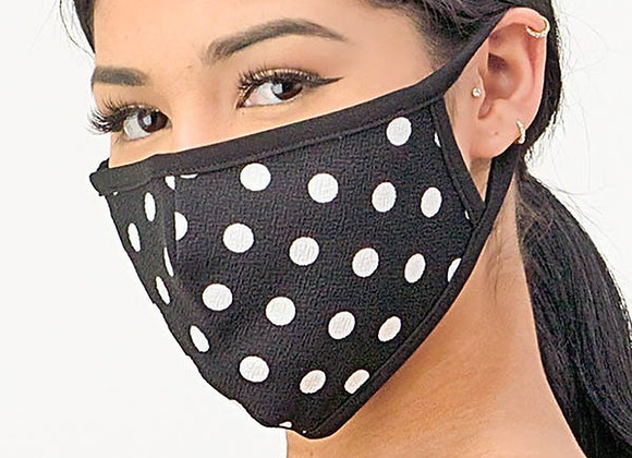 Women's Crepe Polka Dot Face Mask Made in the USA - Black