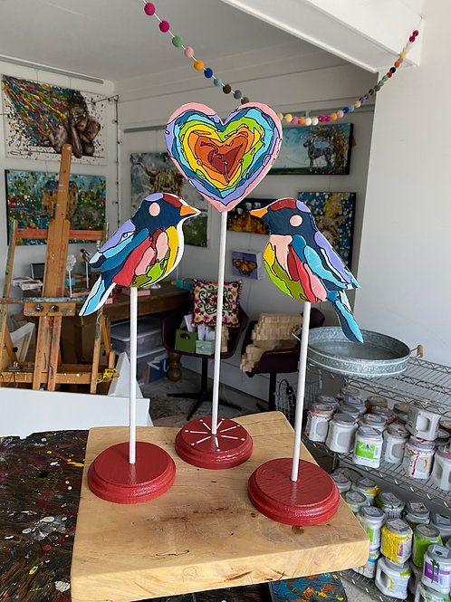 """""Love Birds Trio, no.1"" original art on wood"
