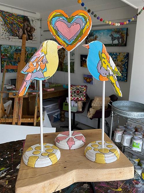 """Love Birds Trio, no.4"" original art on wood"