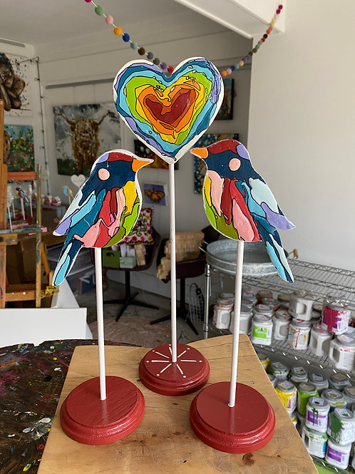 """Love Birds Trio, no.2"" original art on wood"