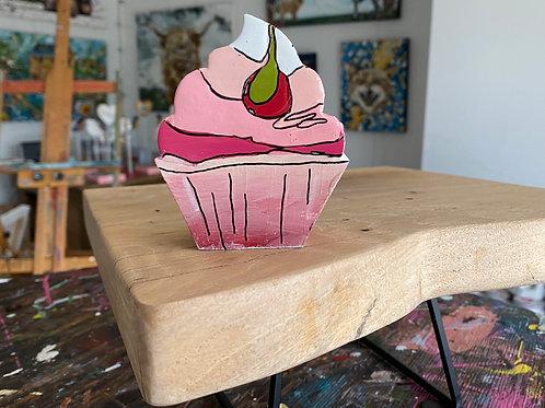 """Cherry Cupcake, no, 3"" original art on wood"