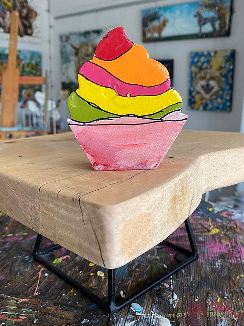 """Sorbet Cupcake"" original art on wood"