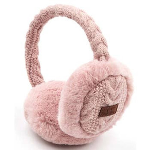 BEIGE CABLE KNIT EARMUFFS