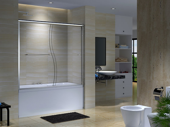 CK Series 56 to 59 1/2 in. x 60 in. Semi-Frameless Sliding Tub Door with S Curve