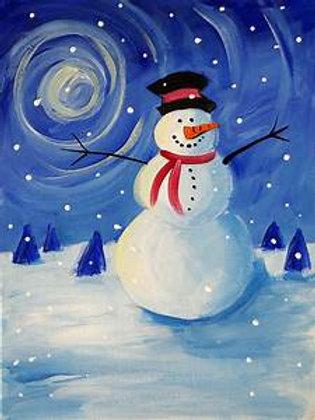 Wispy Snowman Painting